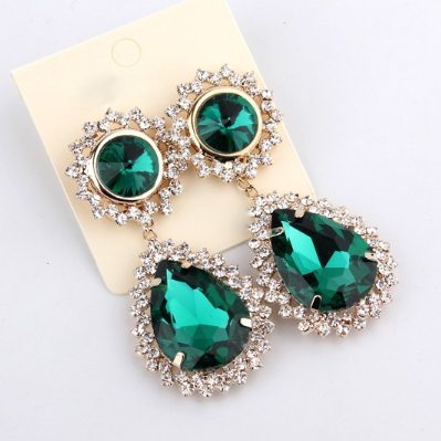 Vintage Faux Emerald Drop Earrings