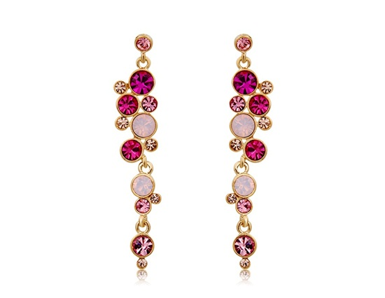 NEOGLORY Fashionable Pink Crystal Earrings