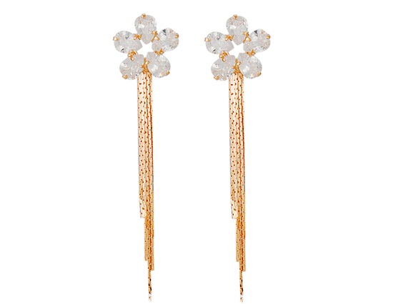 Neoglory Gorgeous Flowers Design Crystal Rhinestone Decorated Tassel Earrings