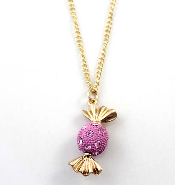 Pink Candy Pendant Embellished with Jewels Necklace