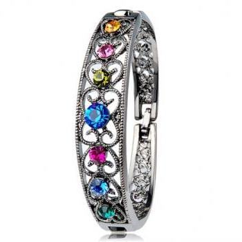 Vintage Colorful Crystal Decorated Cut-out Design Bracelet