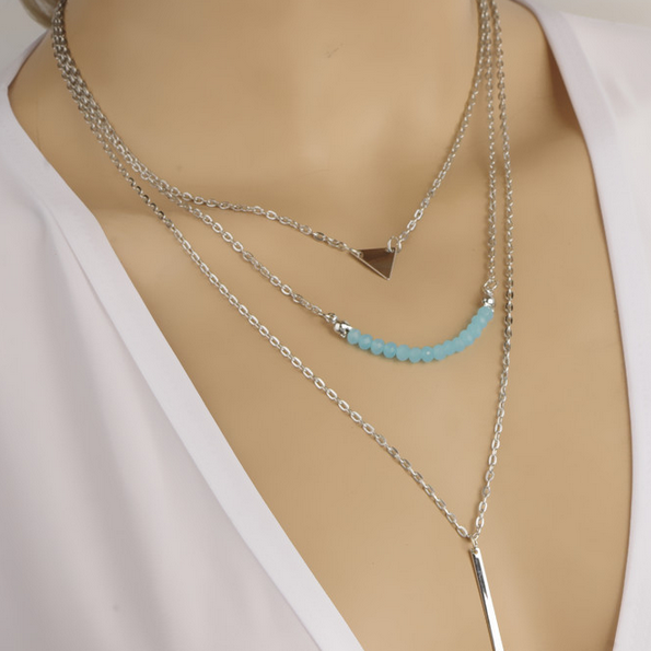 Triangle, Bar & Blue Beads Pendant Layered Necklace